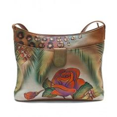 Today I love Anuschka bags. Painted Bags, Hand Painted, Mata Hari, Small Shoulder Bag, Shoes Online, Footwear, Butterfly, Handbags, Purses