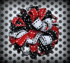 Red White & Black Loopy Bow