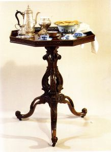 Georgian Tea Table: Furnishings in Sommerall House are outdated.