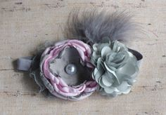 Pink and Gray Satin Flower Headband Photo by LaBandeauxBowtique, $10.00