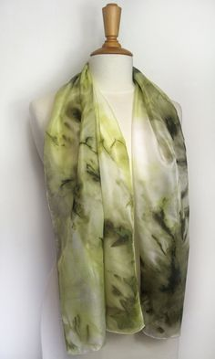 Hand painted khaki green silk scarf. Army green abstract