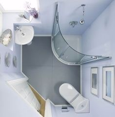 "This is a nice configuration for maximizing bathroom space. Having both the sink and the toilet in the corners gives some balance to the room--not as weird as some ""toilet in the corner"" bathrooms I've seen."