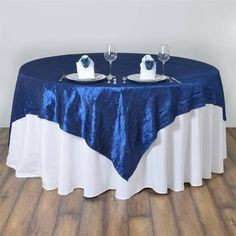 """Navy Blue Taffeta Crinkle Overlay 90""""x90"""" 