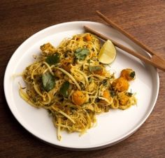 Squash Coconut Curry Noodles  - All the spices and flavors come together perfectly in this delicious noodle dish. The prep for this meal looks more difficult than it actually is because of all the ingredients, but once all the veggies are prepped it comes together very quickly. Check Ann's Tip for some delicious protein additions.