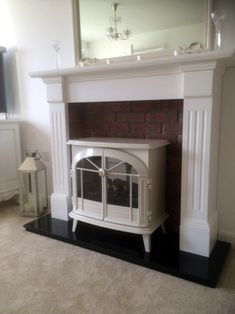 Recent projects and bespoke custom made fire surrounds from Prestige Fireplaces Ltd Nottingham Faux Fireplace Mantels, Inglenook Fireplace, Fireplace Decorations, Living Room With Fireplace, My Living Room, Electric Stove Fireplace, Dimplex Electric Stove, Cosy Lounge, Sitting Room Decor