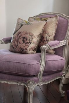 Lilac and Gray. Overblown Roses. Antique Chair. Decorative pillows. t..Cherry Ice Cream Smile