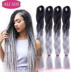 (Buy here: http://appdeal.ru/1geu ) Xpressions Ombre Jumbo Braid Ombre Kanekalon Braiding Hair 10pcs/Lot Two Tone Jumbo Braids Hair Synthetic Gray Braiding Hair for just US $40.00