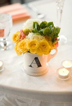 Brides: Simple Floral Wedding Centerpieces