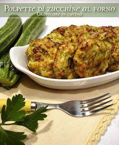 Polpette di zucchine al forno Gustosissime polpette cotte in forno, niente panatura e niente frittura!