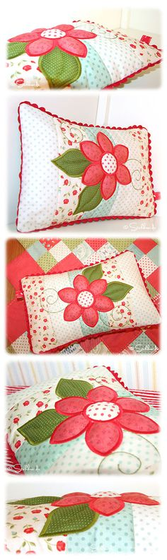 A patchwork pillow topped with a applique flower. Very cute and creative. Patchwork Cushion, Quilted Pillow, Patchwork Quilting, Patch Quilt, Applique Quilts, Applique Cushions, Sewing Crafts, Sewing Projects, Pillow Inspiration