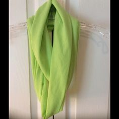 Infinity Scarf Luscious lime green scarf. Soft and comfortable fabric will brighten up any outfit. Comes from smoke free closet. NWOT Accessories Scarves & Wraps