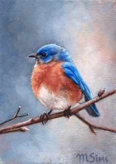 BIRD Eastern bluebird bird notecard bird art by MollySimsFineArt Bird Painting Acrylic, Watercolor Bird, Blue Bird Art, Pet Birds, Angry Birds, Birds 2, Glass Birds, Birds And The Bees, Bird Drawings