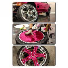 Pink chrome #Asanti rims!#signaturesustoms #tatedesign #motorgroup #561 #954 #305 #786 #3M #hexis #custom #wrap #matte #paintisdead #vinylwrap #westpalmbeach #fortlaudrdale #miami #ftl #pics #instadaily #swag Wrangler Accessories, Car Accessories, Pink Wheels, Vehicle Signage, Ford Flex, Girly Car, Car Goals, Car Hacks, Car Wrap