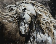 Toiles passées - past paintings — Elise Genest Horse Drawings, Animal Drawings, Art Drawings, Painted Horses, Yarn Painting, Horse Anatomy, Horse Illustration, Horse Artwork, Painted Pony