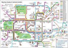 Un plan de Bus qui présente les différentes lignes circulant dans le centre de Londres, les attractions et monuments à proximité ;d'un coup d'œil, vous saurez quelle ligne passe au plus prés de vos attractions et monuments préférés