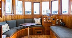 This tiny houseboat is 240 square feet of nautical living 1 Live small on Lake Union Houseboat Decor, Houseboat Living, Small Living, Living Spaces, Seattle Vacation, Lake Union, Living Room Cabinets, 1 Live, Floating House