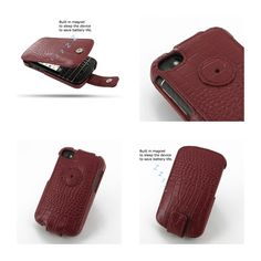 PDair Leather Case for BlackBerry Q10 - Flip Type (Red/Crocodile Pattern)