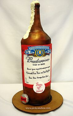 Beer Bottle Birthday Cake by Pink Cake Box in Denville, NJ.  More photos and videos at http://blog.pinkcakebox.com/bottle-of-beer-birthday-cake-2007-09-02.htm