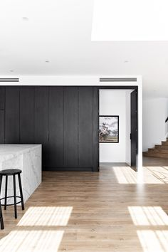 secret door to the walk in pantry. Polytec black woodmatt Kings Home, Pantry Design, Butler Pantry, Walk In Pantry, Black Kitchens, Cladding, Home Builders, Custom Homes, Custom Design