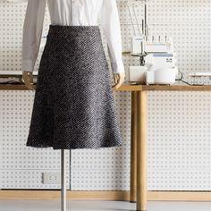 FAB #147 ファンシーツイードのヨーク切替フレアスカート(オリジナルパターン#017) - fab-fabric sewing studio   布地のオンライン通販とソーイングスクール