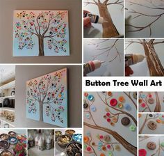 Buttons also can be turned into a piece of wonderful wall artwork. This fantastic buttons tree is inexpensive, creative and super easy to create, and does not require you to be an artist. Love it and it is just too cute not to share with you guys! See full tutorial:Vibrant Button Tree on Canvas