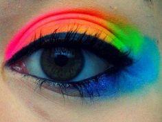 this looks cool ! Rainbow Eyes, Rainbow Makeup, Neon Rainbow, Rainbow Things, Rainbow Stuff, Rainbow Dash, Mack Up, Make Carnaval, Neon Eyeshadow