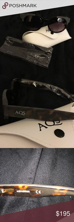 """Italian-made AquaSwiss """"Hadley"""" women's sunglasses AquaSwiss Hadley women's sunglasses. Frame color is black and brown tortoise with frosted overlay at eye and arms. Lens color is black gradient. Plastic lenses with 100% UV protection. AQS logo at temple. Lens: 53mm wide; bridge: 22mm wide; arms: 144mm long. Made in Italy. AquaSwiss Accessories Sunglasses"""