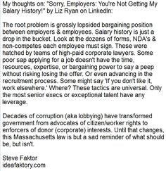 """My thoughts on: """"Sorry, Employers: You're Not Getting My Salary History!""""  by Liz Ryan on LinkedIn Pulse - https://lnkd.in/dQjnDB3  Text version of comment: https://lnkd.in/dWrCGht"""