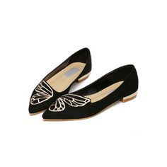 Black Point Toe Embroidery Suede Flats ($29) ❤ liked on Polyvore featuring shoes, flats, flat shoes, black flat shoes, pointy-toe flats, pointed toe shoes and flat pumps