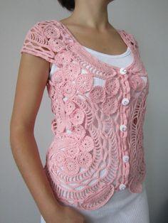 Suéter rosado del ganchillo Crochet blusa Sweater por MARTINELI