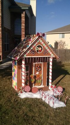 Make a gingerbread playhouse house decorations candy for Gingerbread house outdoor decorations