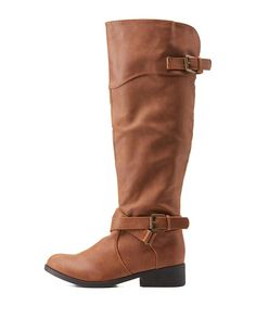 Camel Qupid Belted Knee-High Riding Boots by Qupid at Charlotte Russe