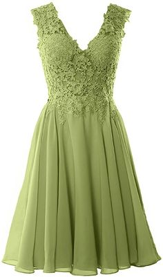 MACloth Women V Neck Wedding Party Dress Short Lace Prom Homecoming Formal Gown Olive Green) Mode Chic, Mode Style, Short Lace Dress, Short Dresses, Old Wedding Dresses, Bride Dresses, Formal Gowns, Dress Formal, Homecoming Dresses