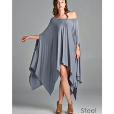 """Contemporary"" Loose Poncho Tunic Top Gorgeous poncho tunic top that looks and feels amazing. Excellent draping to fit anybody! Material is slightly heavy. Available in black, taupe, olive and steel. This listing is for the STEEL. One size fits most. Brand new without tags. Bare Anthology Tops Tees - Short Sleeve"