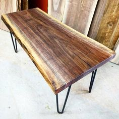 Live edge black walnut coffee table on hairpin legs by barnboardstore.com