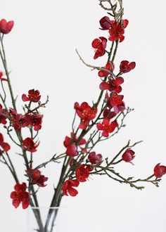 """Artificial Savannah Plum Blossom Branch in Marsala Wine - 40"""" Tall"""
