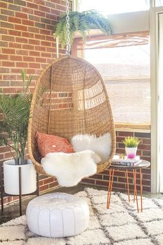 It takes just 30 minutes to properly hang a mid-century inspired woven basket chair, if done correctly.