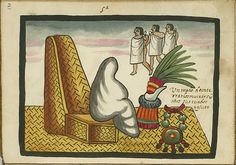 Un modo de enterrar los muertos con todos sus criados y ajuar  A mummy is shown seated on a basketwork throne with a feathered ornament made from quetzal plumes, a jade collar, and three men in background.  The three men in the background represent the slaves who were sacrificed when an emperor died.