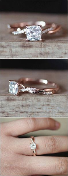 C&C Forever Brilliant 6mm Cushion Cut Moissanite Engagement Ring Set Half Eternity Diamond Wedding Ring Set 14K Rose Gold Ring Bridal Set #weddingring