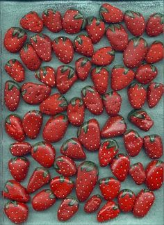 Stones painted as strawberries when put around strawberry plants in the spring will keep birds from eating your berries once they ripen....because the birds will think the ripened berries are stones.