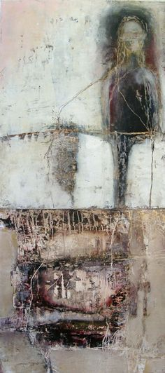"""Someone Else's Nest  oil and cold wax on panel  36""""H x 16""""W  Jeane Myers"""