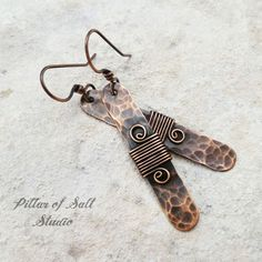 Hammered copper stick wire wrapped earrings by Pillar of Salt Studio