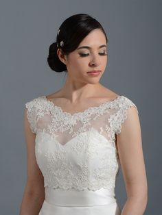 V-neck re-embroidered Lace Bridal Bolero Wedding jacket shrug WJ006