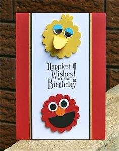 handmade birthday card ... punch art Sesame Street characters .. bright and cheerful ... perfect for the toddler set ...