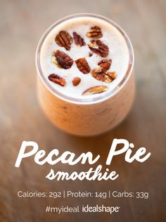 Don't dread the Holidays! Try this yummy and healthy Pecan Pie alternative! 1 scoop Vanilla IdealShake, 1 cup unsweetened almond milk, 2 T pecans, 5 pitted dates, 1 T ground flaxseed, 1/2 tsp cinnamon. Add ice, mix, and enjoy! #IdealShape #MealReplacement #HealthyDesserts