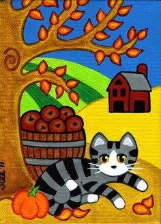 Grey Tabby CAT in FALL Autumn Folk Art PRINT from by thatsmycat