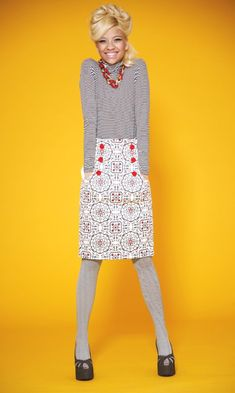 button front straight skirt with pockets - (free pdf pattern)