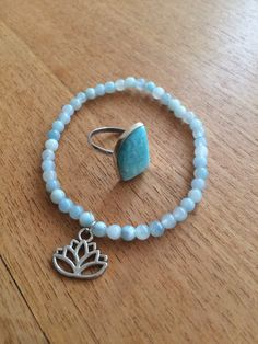 Amazonite bracelet with ring by wellbeingbliss on Etsy