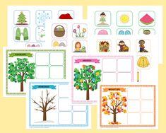 Μαθαίνω τις 4 εποχές (εκτυπώσιμο παιχνίδι) εποχή Preschool, Gallery Wall, Teaching, Activities, Math, Frame, Blog, Crafts, Mobiles