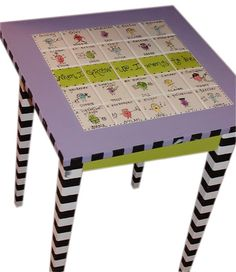 Any decorated table-find table at goodwill-- thinking a magnetic scrabble table for downstairs!